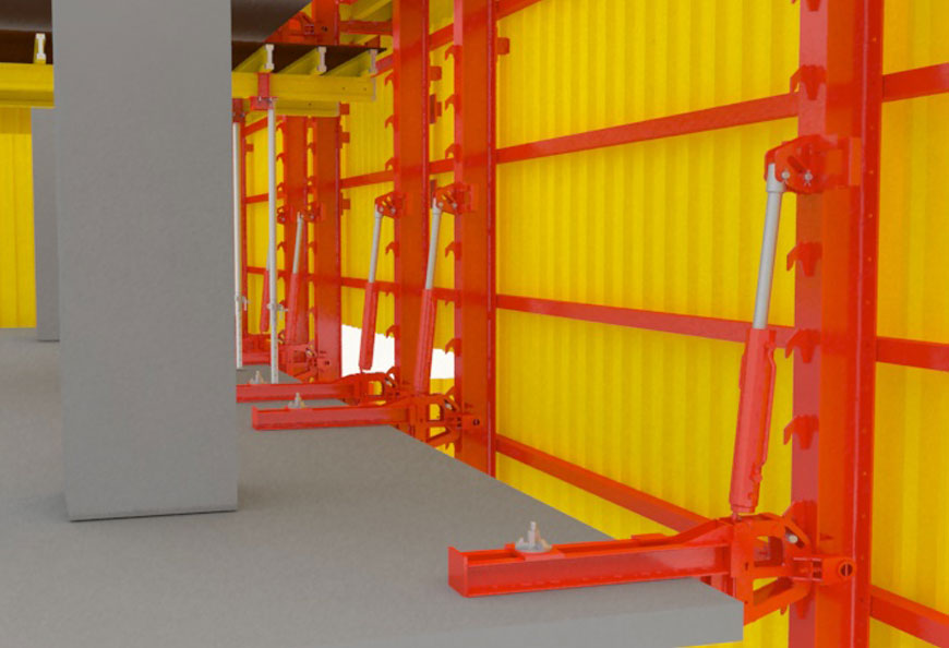Stable and safe climbing via mobile hydraulic cylinders, saves crane time from the whole project phase